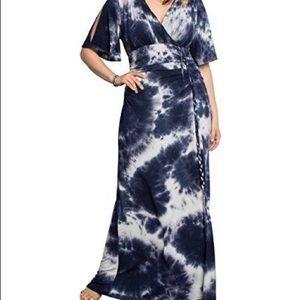 Kiyonna Size 1 14/16 Indigo Tie Dye Maxi Dress